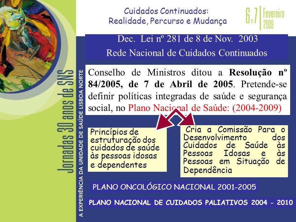 Conselho de Ministros ditou a Resolução nº 84/2005, de 7 de Abril de 2005. Pretende-se definir políticas integradas de saúde e segurança social, no Pl