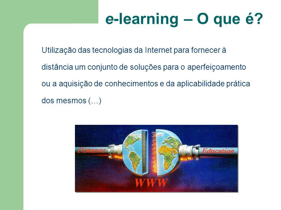 e-learning – O que é? Utilização das tecnologias da Internet para fornecer à distância um conjunto de soluções para o aperfeiçoamento ou a aquisição d