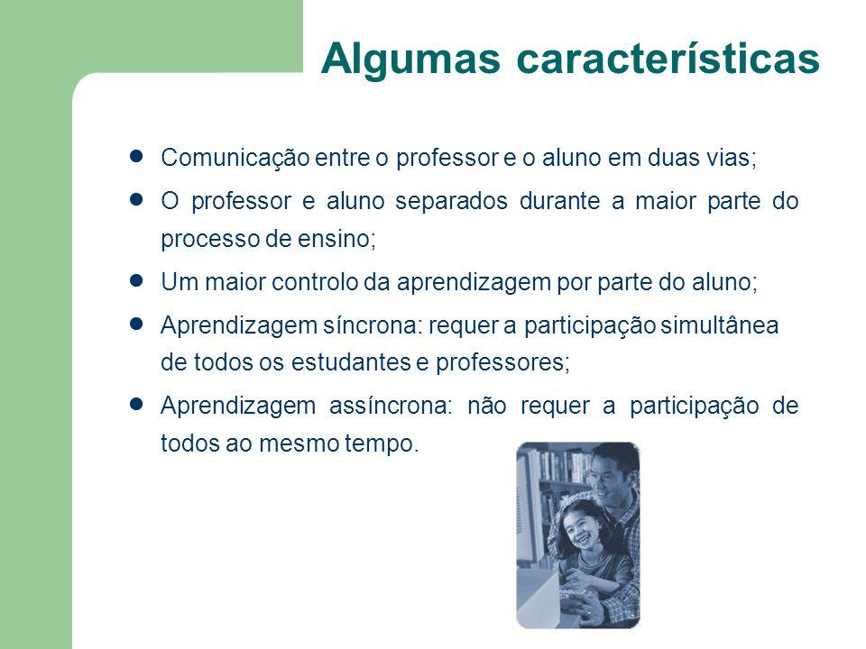 Algumas características Comunicação entre o professor e o aluno em duas vias; O professor e aluno separados durante a maior parte do processo de ensin