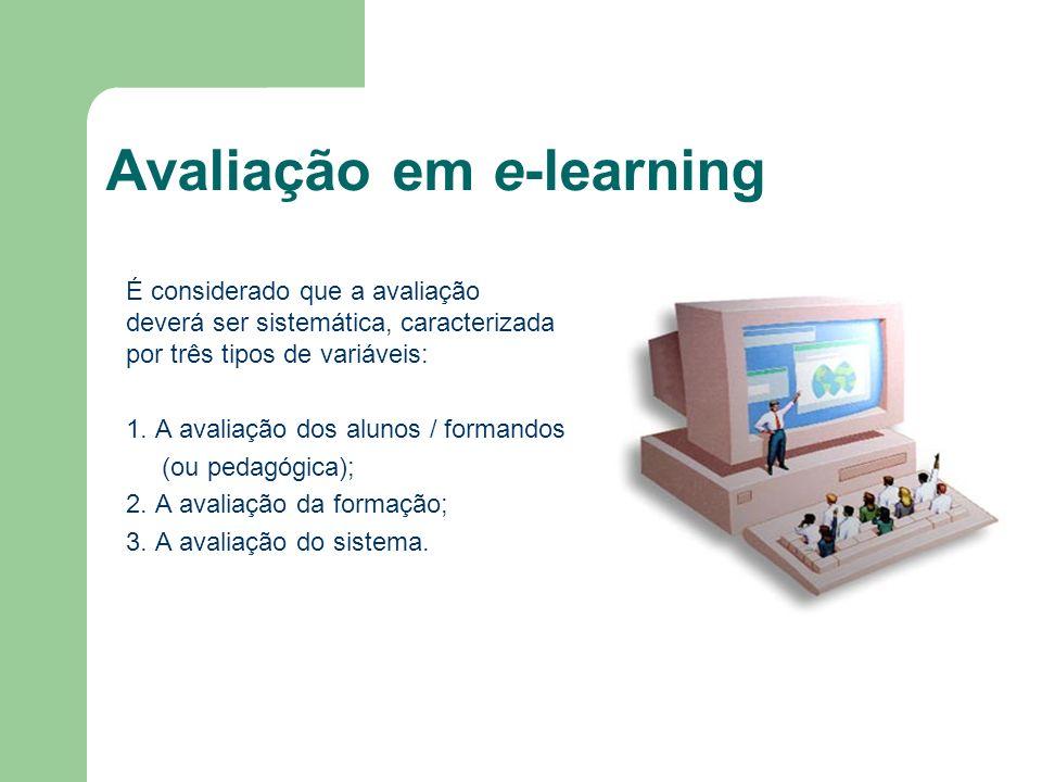 Avaliação em e-learning É considerado que a avaliação deverá ser sistemática, caracterizada por três tipos de variáveis: 1. A avaliação dos alunos / f