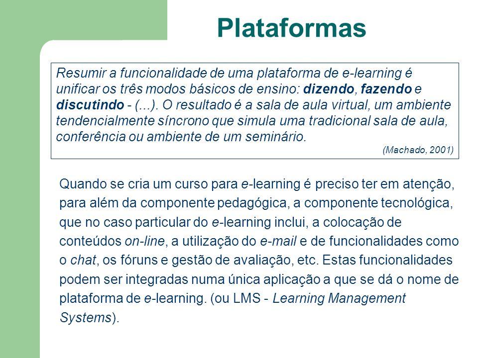 Plataformas Resumir a funcionalidade de uma plataforma de e-learning é unificar os três modos básicos de ensino: dizendo, fazendo e discutindo - (...)