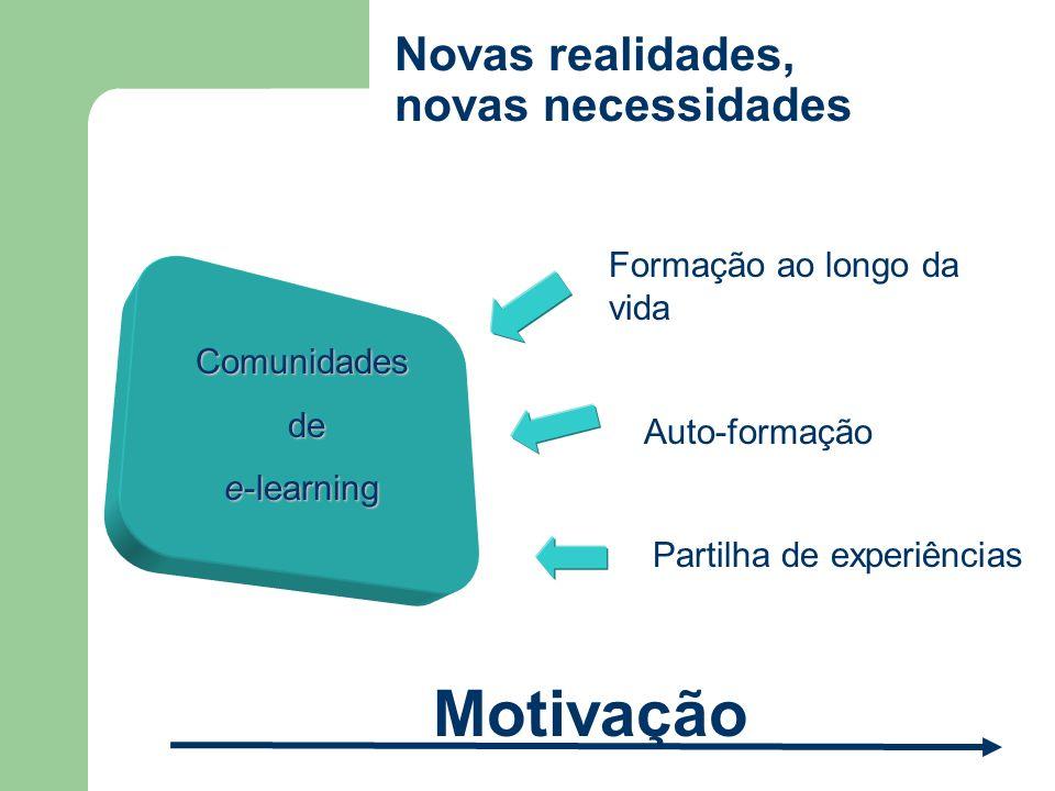 Novas realidades, novas necessidades Comunidades de de e-learning Formação ao longo da vida Partilha de experiências Auto-formação Motivação