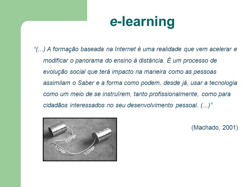 e-learning (...) A formação baseada na Internet é uma realidade que vem acelerar e modificar o panorama do ensino à distância. É um processo de evoluç