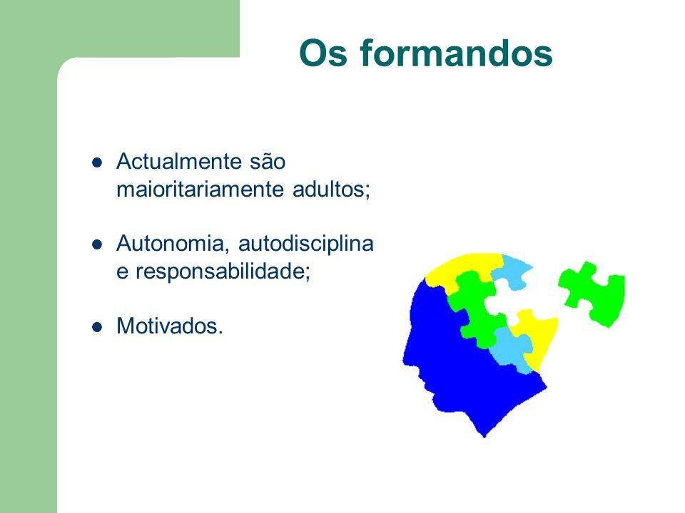 Os formandos Actualmente são maioritariamente adultos; Autonomia, autodisciplina e responsabilidade; Motivados.