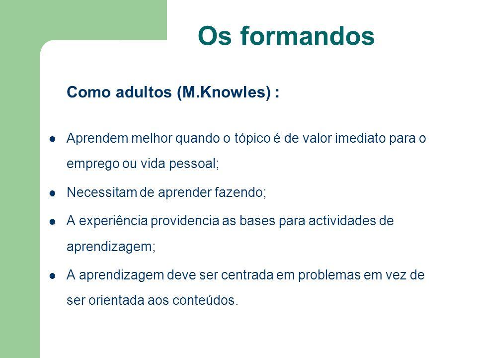 Os formandos Como adultos (M.Knowles) : Aprendem melhor quando o tópico é de valor imediato para o emprego ou vida pessoal; Necessitam de aprender faz