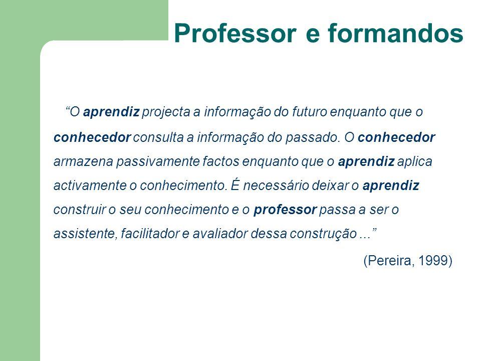 O aprendiz projecta a informação do futuro enquanto que o conhecedor consulta a informação do passado. O conhecedor armazena passivamente factos enqua