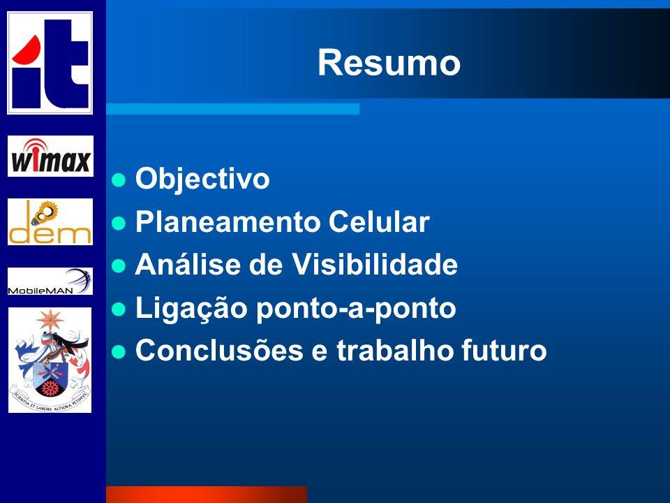 Resumo Objectivo Planeamento Celular Análise de Visibilidade Ligação ponto-a-ponto Conclusões e trabalho futuro