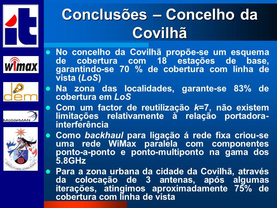 Conclusões – Concelho da Covilhã No concelho da Covilhã propõe-se um esquema de cobertura com 18 estações de base, garantindo-se 70 % de cobertura com