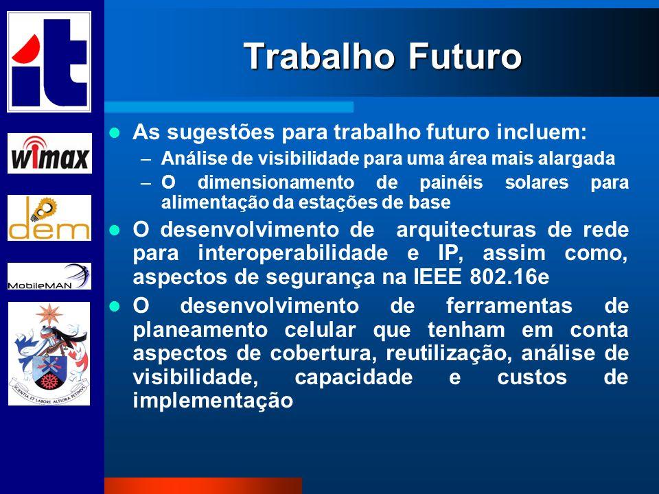 Trabalho Futuro As sugestões para trabalho futuro incluem: –Análise de visibilidade para uma área mais alargada –O dimensionamento de painéis solares