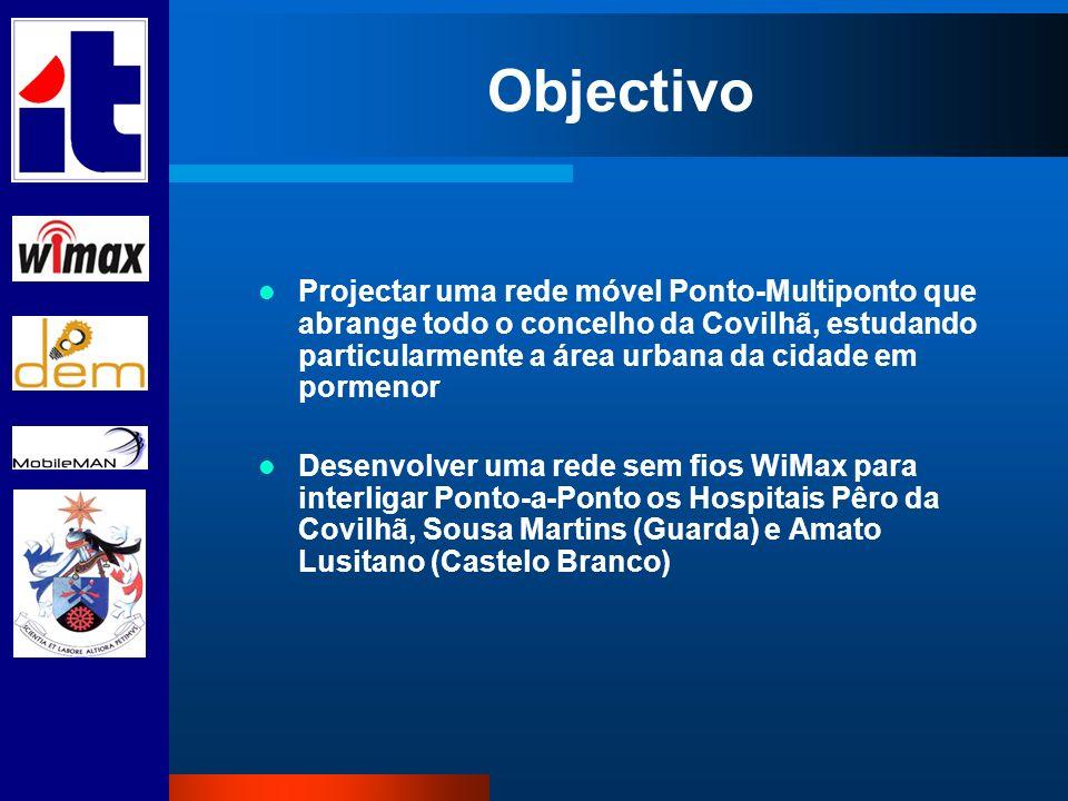 Objectivo Projectar uma rede móvel Ponto-Multiponto que abrange todo o concelho da Covilhã, estudando particularmente a área urbana da cidade em porme