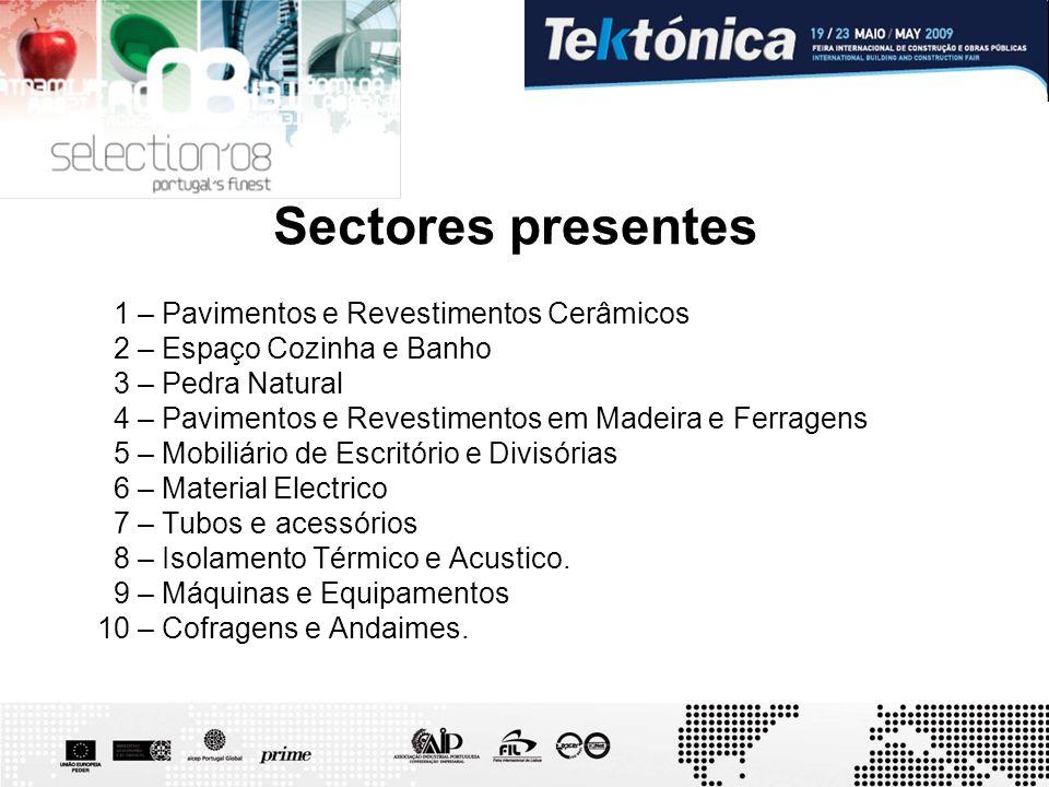 Sectores presentes 1 – Pavimentos e Revestimentos Cerâmicos 2 – Espaço Cozinha e Banho 3 – Pedra Natural 4 – Pavimentos e Revestimentos em Madeira e F