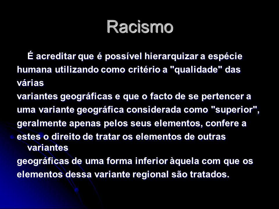 Racismo É acreditar que é possível hierarquizar a espécie humana utilizando como critério a