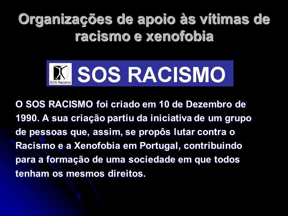 Organizações de apoio às vítimas de racismo e xenofobia O SOS RACISMO foi criado em 10 de Dezembro de 1990. A sua criação partiu da iniciativa de um g