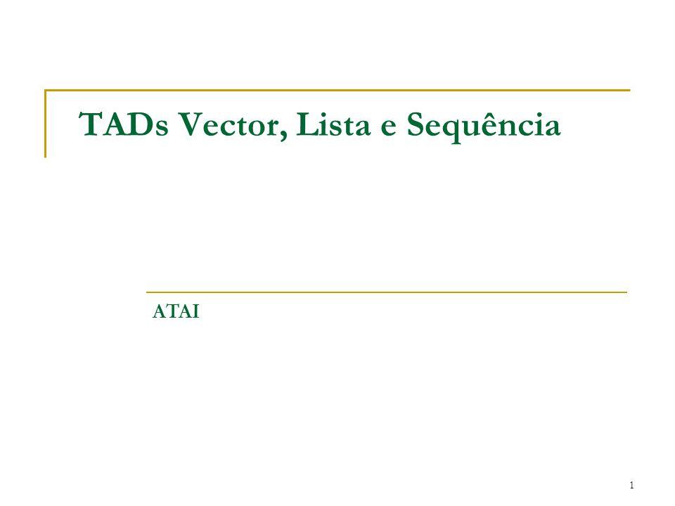 2 TAD Vector Uma sequencia S de n elementos Rank (posição) do elemento e da sequencia S indica o número de elementos antes de e em S.