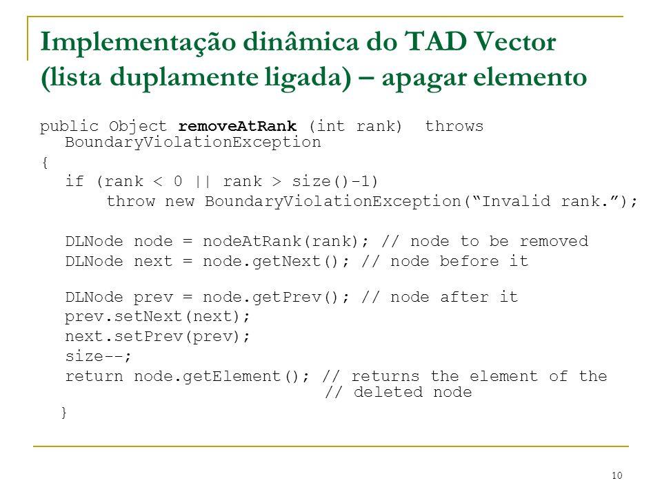 10 Implementação dinâmica do TAD Vector (lista duplamente ligada) – apagar elemento public Object removeAtRank (int rank) throws BoundaryViolationExce