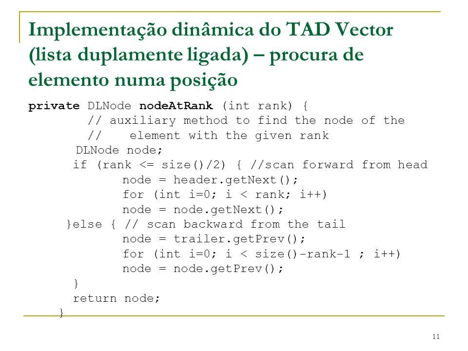 11 Implementação dinâmica do TAD Vector (lista duplamente ligada) – procura de elemento numa posição private DLNode nodeAtRank (int rank) { // auxilia