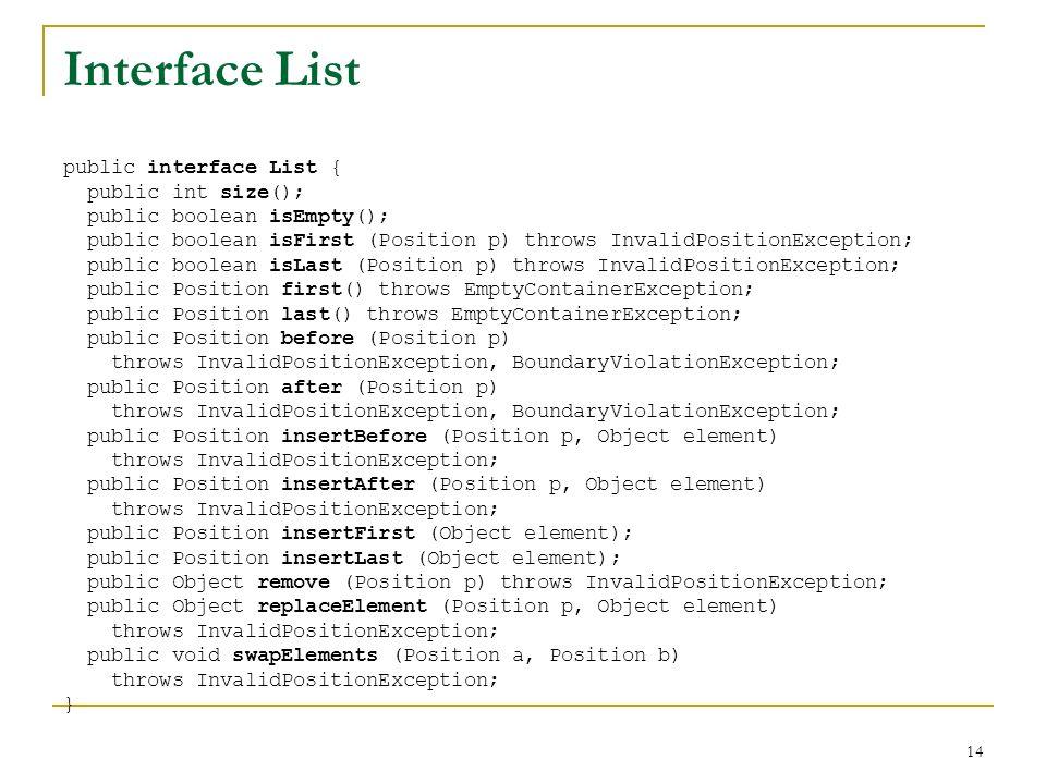 14 Interface List public interface List { public int size(); public boolean isEmpty(); public boolean isFirst (Position p) throws InvalidPositionExcep