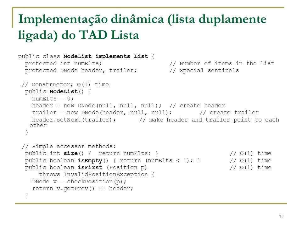 17 Implementação dinâmica (lista duplamente ligada) do TAD Lista public class NodeList implements List { protected int numElts; // Number of items in