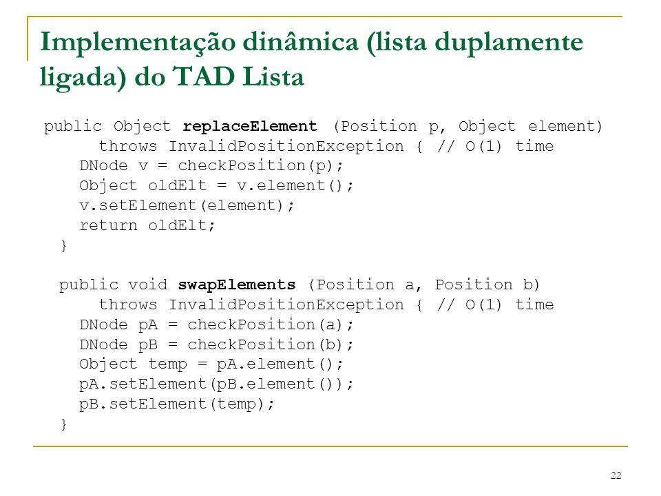 22 Implementação dinâmica (lista duplamente ligada) do TAD Lista public Object replaceElement (Position p, Object element) throws InvalidPositionExcep