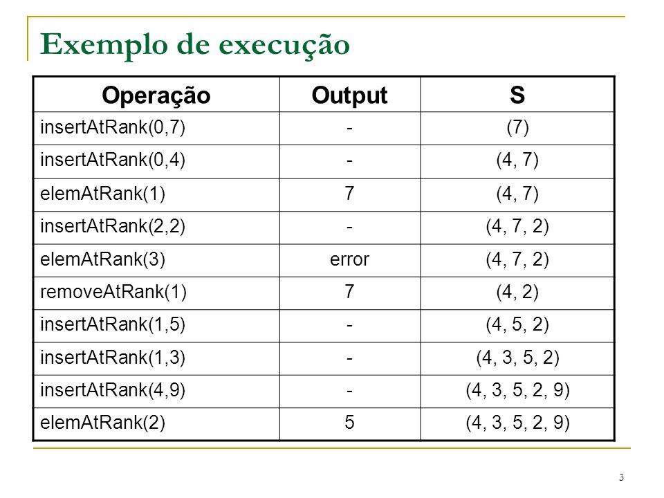 3 Exemplo de execução OperaçãoOutputS insertAtRank(0,7)-(7) insertAtRank(0,4)-(4, 7) elemAtRank(1)7(4, 7) insertAtRank(2,2)-(4, 7, 2) elemAtRank(3)err
