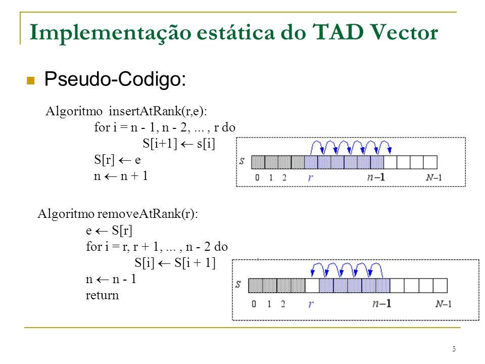 5 Implementação estática do TAD Vector Pseudo-Codigo: Algoritmo insertAtRank(r,e): for i = n - 1, n - 2,..., r do S[i+1] s[i] S[r] e n n + 1 Algoritmo