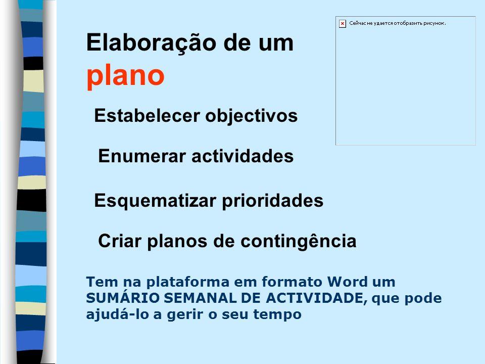 Estabelecer objectivos Enumerar actividades Esquematizar prioridades Criar planos de contingência Elaboração de um plano Tem na plataforma em formato