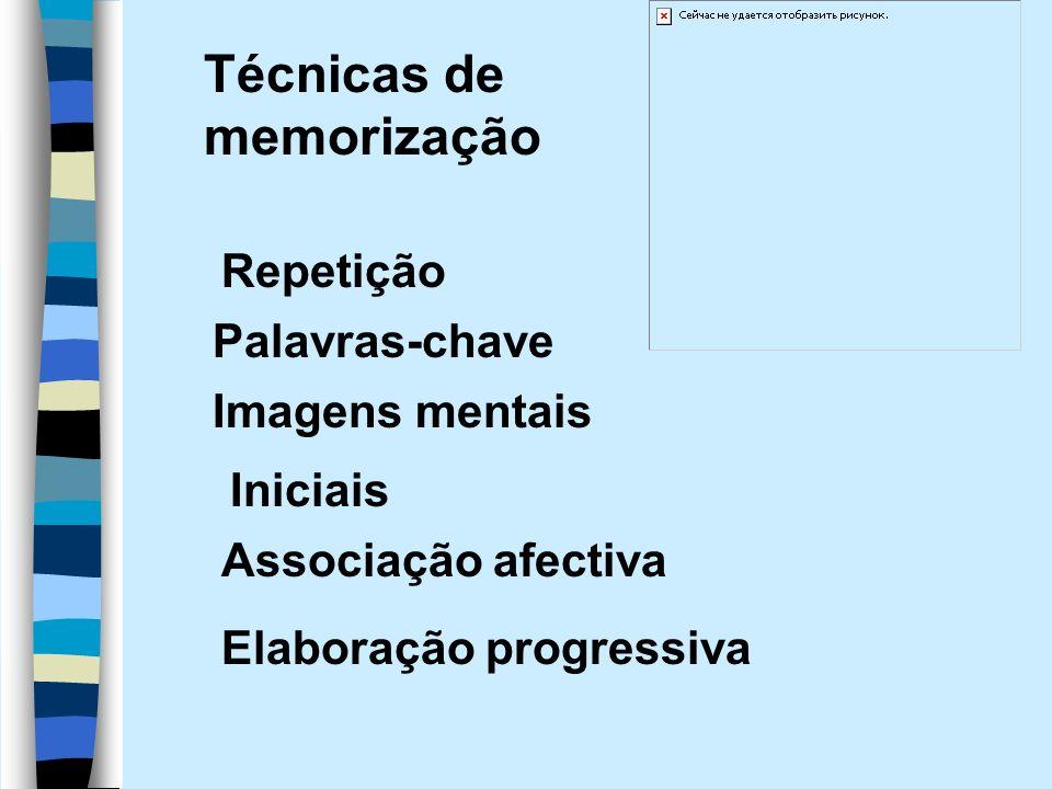 Repetição Palavras-chave Imagens mentais Elaboração progressiva Iniciais Associação afectiva Técnicas de memorização