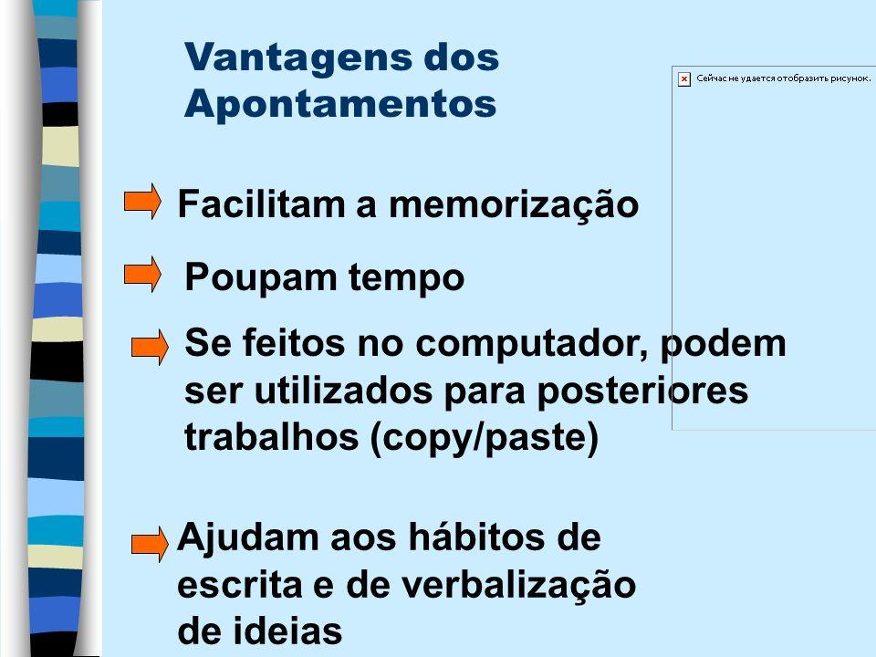 Vantagens dos Apontamentos Facilitam a memorização Poupam tempo Se feitos no computador, podem ser utilizados para posteriores trabalhos (copy/paste)