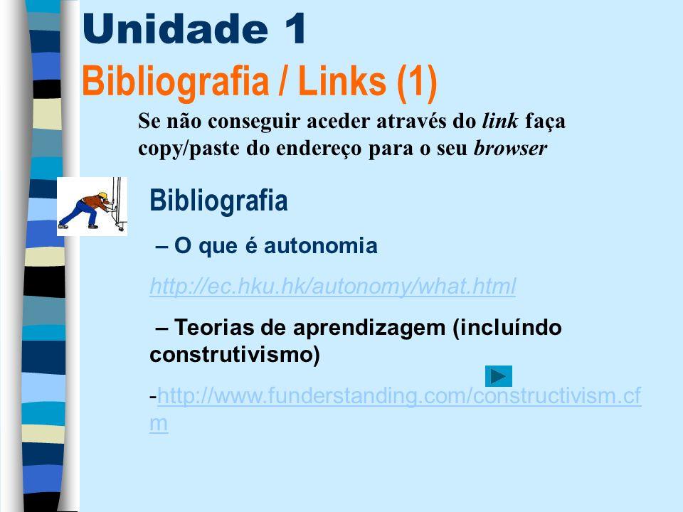 Unidade 1 Bibliografia / Links (1) Bibliografia – O que é autonomia http://ec.hku.hk/autonomy/what.html – Teorias de aprendizagem (incluíndo construti