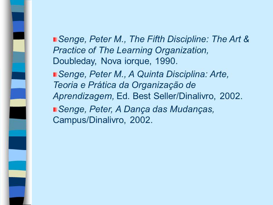 Senge, Peter M., The Fifth Discipline: The Art & Practice of The Learning Organization, Doubleday, Nova iorque, 1990. Senge, Peter M., A Quinta Discip