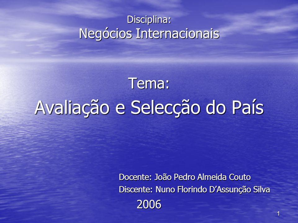 1 Disciplina: Negócios Internacionais Tema: Avaliação e Selecção do País Docente: João Pedro Almeida Couto Discente: Nuno Florindo DAssunção Silva 200