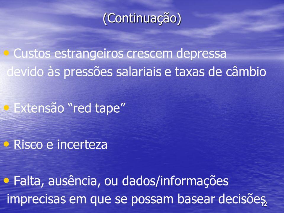 12 (Continuação) Custos estrangeiros crescem depressa devido às pressões salariais e taxas de câmbio Extensão red tape Risco e incerteza Falta, ausênc