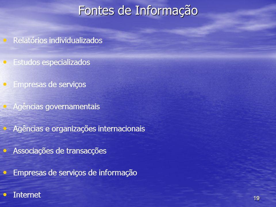 19 Fontes de Informação Relatórios individualizados Estudos especializados Empresas de serviços Agências governamentais Agências e organizações intern