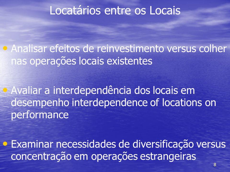 8 Locatários entre os Locais Analisar efeitos de reinvestimento versus colher nas operações locais existentes Avaliar a interdependência dos locais em