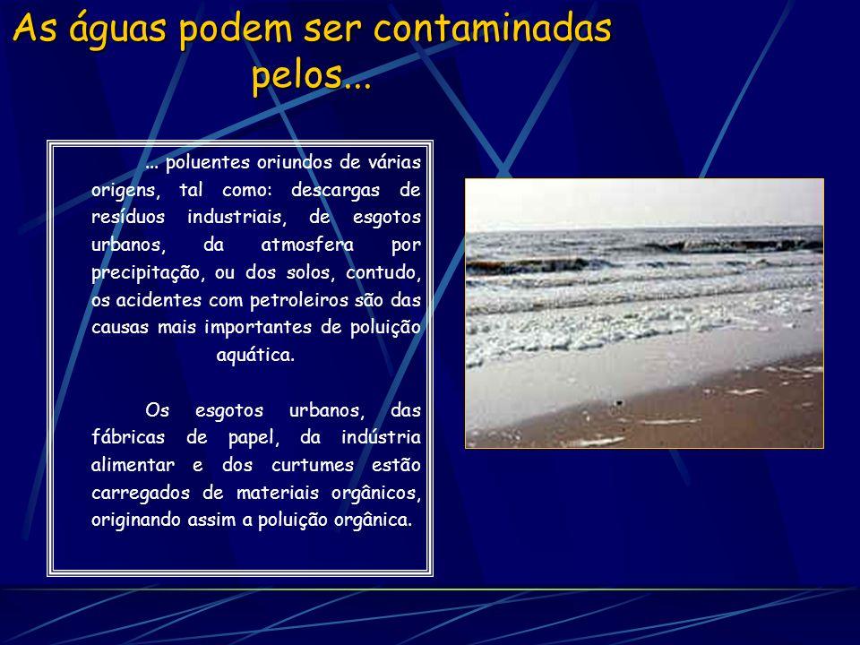 Alguns fenómenos, doenças e a dificuldade de algumas espécies Os compostos orgânicos concentrados na água são uma fonte nutritiva que conduz ao aumento das populações de microrganismos como, por exemplo, bactérias e fungos.