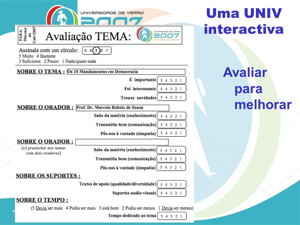 Avaliar para melhorar Uma UNIV interactiva