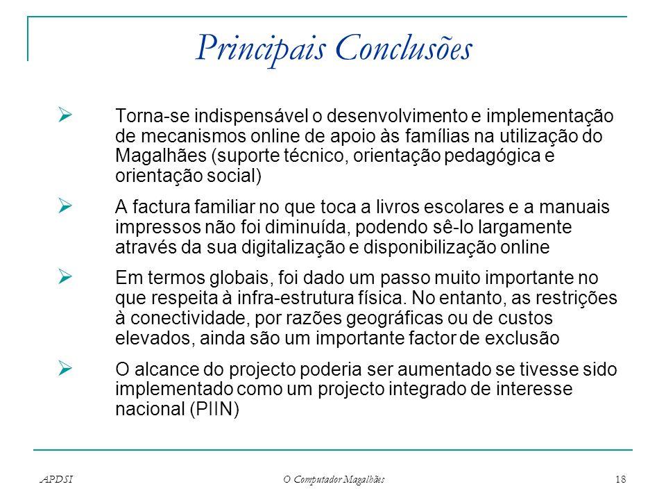 APDSI O Computador Magalhães 18 Principais Conclusões Torna-se indispensável o desenvolvimento e implementação de mecanismos online de apoio às famíli