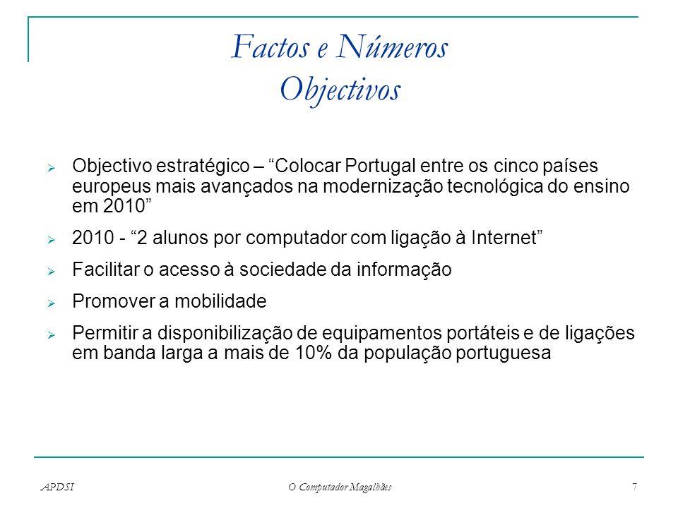APDSI O Computador Magalhães 7 Factos e Números Objectivos Objectivo estratégico – Colocar Portugal entre os cinco países europeus mais avançados na m