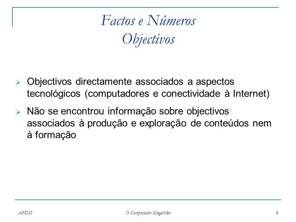 APDSI O Computador Magalhães 8 Factos e Números Objectivos Objectivos directamente associados a aspectos tecnológicos (computadores e conectividade à