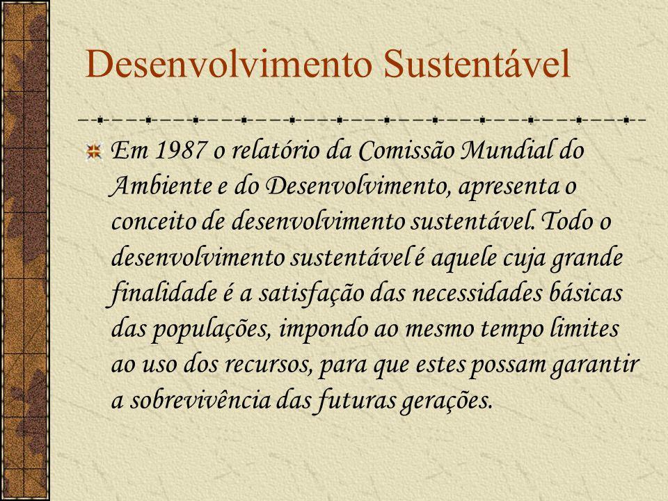 Desenvolvimento Sustentável Em 1987 o relatório da Comissão Mundial do Ambiente e do Desenvolvimento, apresenta o conceito de desenvolvimento sustentá