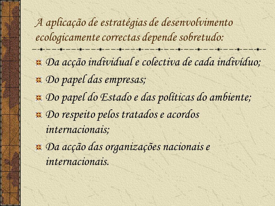 A aplicação de estratégias de desenvolvimento ecologicamente correctas depende sobretudo: Da acção individual e colectiva de cada indivíduo; Do papel