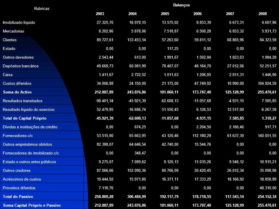 Rubricas Balanços 200320042005200620072008 Imobilizado líquido27.325,7016.978,1513.575,028.853,396.673,314.607,96 Mercadorias8.202,865.878,067.518,876