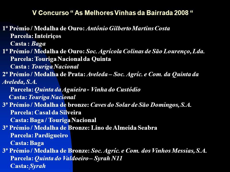 V Concurso As Melhores Vinhas da Bairrada 2008 1º Prémio / Medalha de Ouro: António Gilberto Martins Costa Parcela: Inteiriços Casta : Baga 1º Prémio