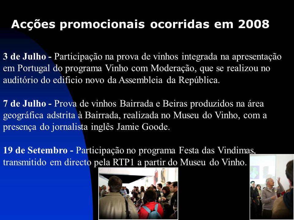Acções promocionais ocorridas em 2008 3 de Julho - Participação na prova de vinhos integrada na apresentação em Portugal do programa Vinho com Moderaç
