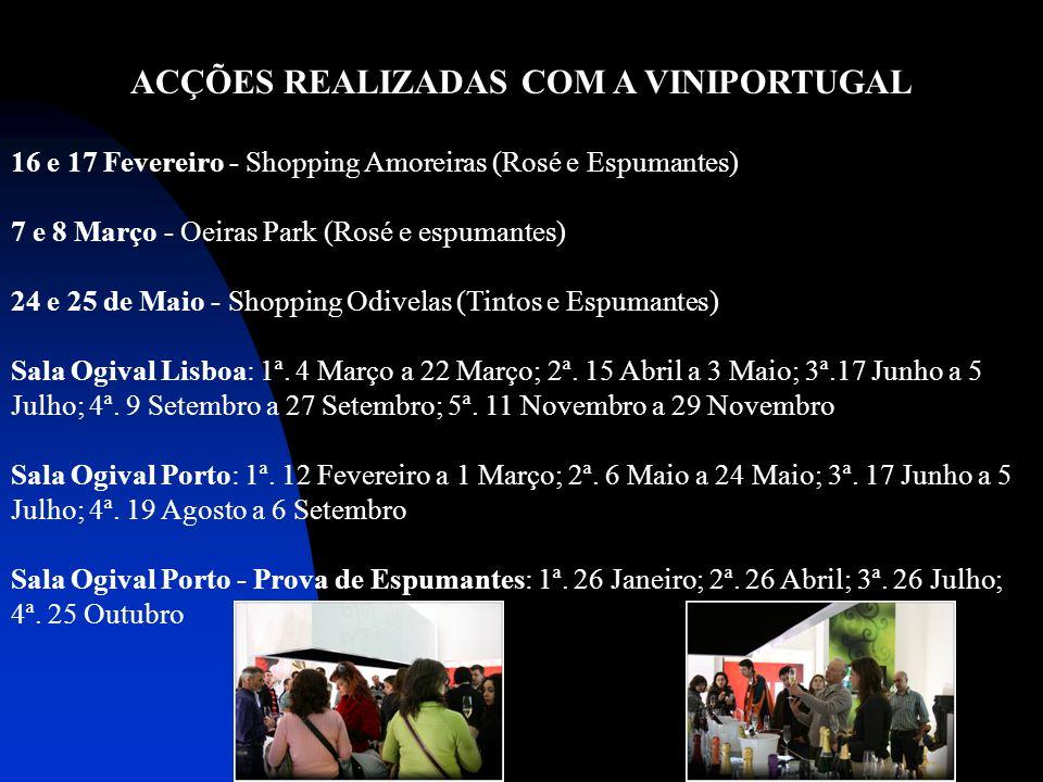 ACÇÕES REALIZADAS COM A VINIPORTUGAL 16 e 17 Fevereiro - Shopping Amoreiras (Rosé e Espumantes) 7 e 8 Março - Oeiras Park (Rosé e espumantes) 24 e 25