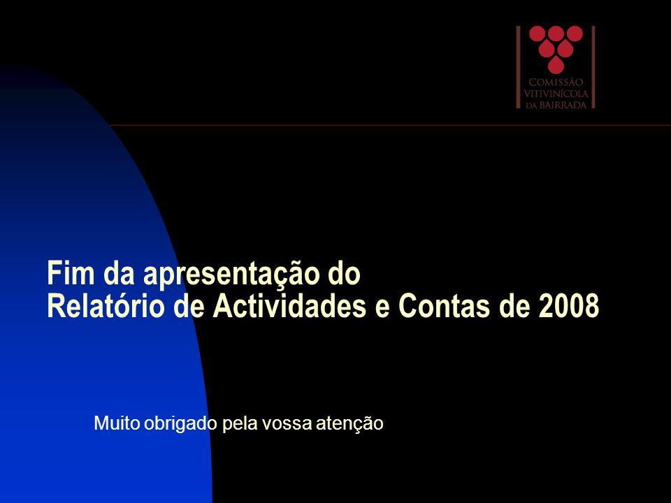 Fim da apresentação do Relatório de Actividades e Contas de 2008 Muito obrigado pela vossa atenção