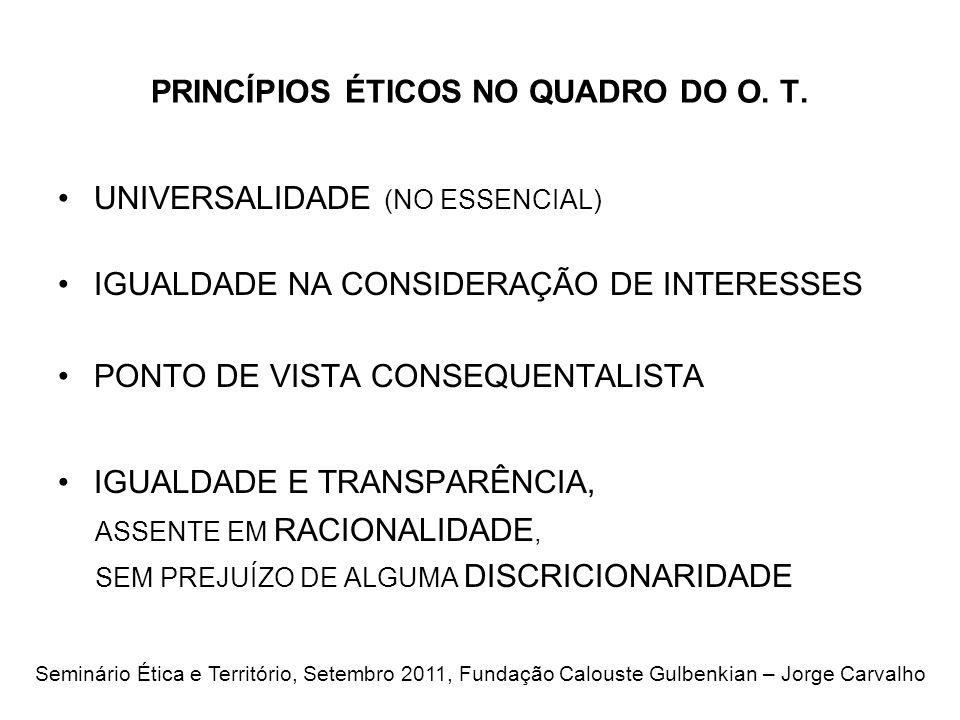 PRINCÍPIOS ÉTICOS NO QUADRO DO O.T.