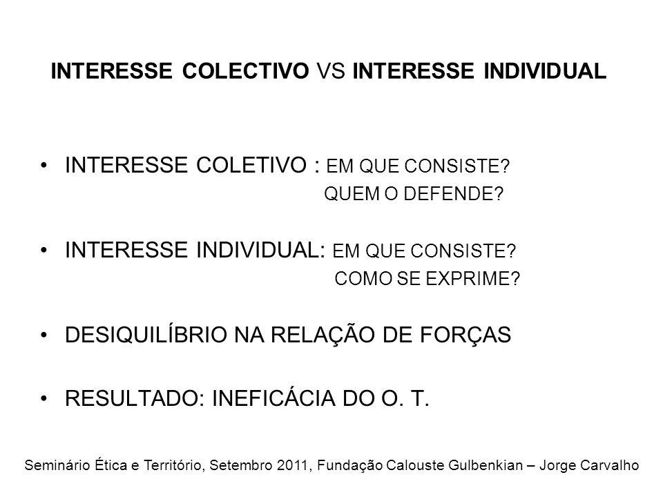 INTERESSE COLECTIVO VS INTERESSE INDIVIDUAL INTERESSE COLETIVO : EM QUE CONSISTE.