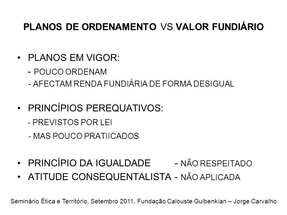 PLANOS DE ORDENAMENTO VS VALOR FUNDIÁRIO PLANOS EM VIGOR: - POUCO ORDENAM - AFECTAM RENDA FUNDIÁRIA DE FORMA DESIGUAL PRINCÍPIOS PEREQUATIVOS: - PREVISTOS POR LEI - MAS POUCO PRATIICADOS PRINCÍPIO DA IGUALDADE - NÃO RESPEITADO ATITUDE CONSEQUENTALISTA - NÃO APLICADA Seminário Ética e Território, Setembro 2011, Fundação Calouste Gulbenkian – Jorge Carvalho