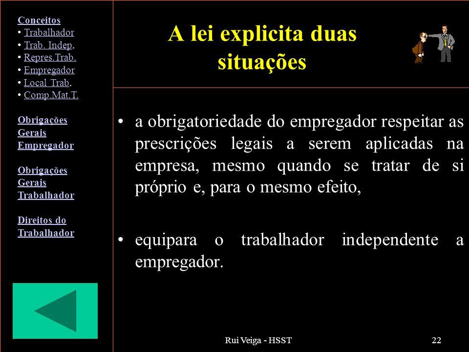 Rui Veiga - HSST22 A lei explicita duas situações a obrigatoriedade do empregador respeitar as prescrições legais a serem aplicadas na empresa, mesmo